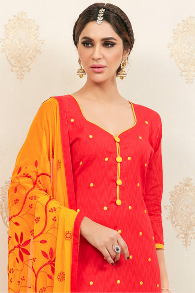 Designer Straight Cut:atisundar Awesome Red Designer Party Wear Embroidered Straight Cut  - 12613 - click to zoom