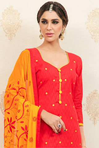 Designer Straight Cut:atisundar Awesome Red Designer Party Wear Embroidered Straight Cut  - 12613