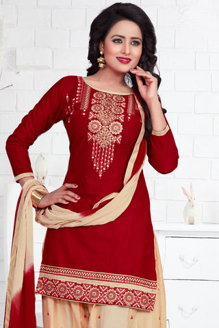 Designer Straight Cut:atisundar excellent Red Designer Party Wear Straight Cut - 13192