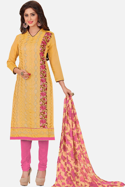 Designer Embroidered Straight Cut Suit With Printed Dupatta:atisundar admirable Yellow Designer Embroidered Casual Wear Suits In Chanderi - 15154 - click to zoom
