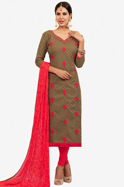 Designer Straight Cut:atisundar gorgeous Brown Designer Party Wear Embroidered Straight Cut  - 12615 - click to zoom