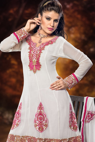 Designer Straight Cut:atisundar Beautiful White Designer Embroidered Straight Cut - 10669 - click to zoom