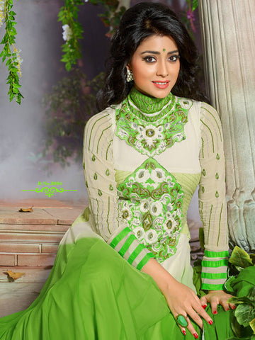 Shriya:atisundar cute   in Parrot Green And Cream - 4956 - atisundar - 3