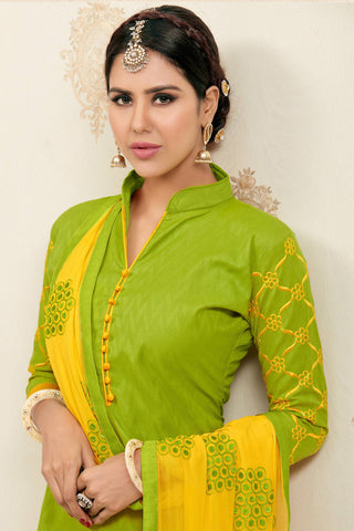 Designer Straight Cut:atisundar Lovely Light Green Designer Party Wear Embroidered Straight Cut  - 12618