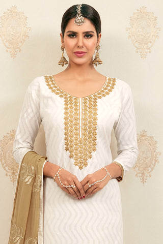 Designer Straight Cut:atisundar graceful White Designer Party Wear Embroidered Straight Cut  - 12619