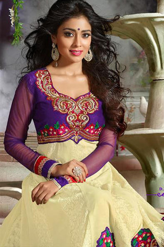 Shriya:atisundar splendid   in Purple And Cream - 4959