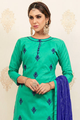 Designer Straight Cut:atisundar pretty Sea Green Designer Party Wear Embroidered Straight Cut  - 12620
