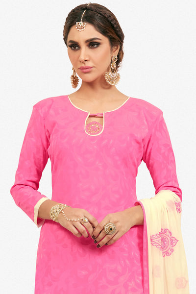 Designer Straight Cut:atisundar Alluring Pink Designer Party Wear Embroidered Straight Cut  - 12621 - click to zoom