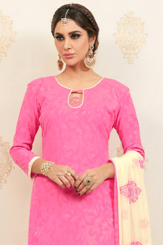 Designer Straight Cut:atisundar Alluring Pink Designer Party Wear Embroidered Straight Cut  - 12621