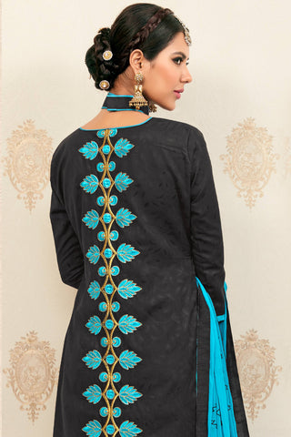 Designer Straight Cut:atisundar graceful Black Designer Party Wear Embroidered Straight Cut  - 12622