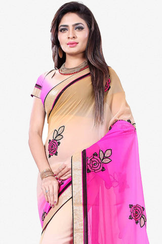 Designer Saree:atisundar Charismatic Designer Party Wear Saree in Pink And Cream  - 12794