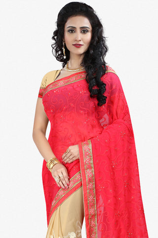 Designer Saree:atisundar splendid Designer Party Wear Saree in Red And Cream  - 12796