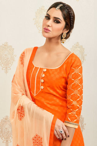 Designer Straight Cut:atisundar Alluring Orange Designer Party Wear Embroidered Straight Cut  - 12624