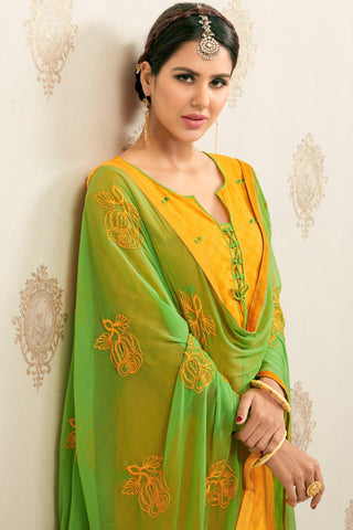 Designer Straight Cut:atisundar angelic Yellow Designer Party Wear Embroidered Straight Cut  - 12625