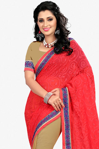 Designer Saree:atisundar graceful Designer Party Wear Saree in Red And Brown  - 12797