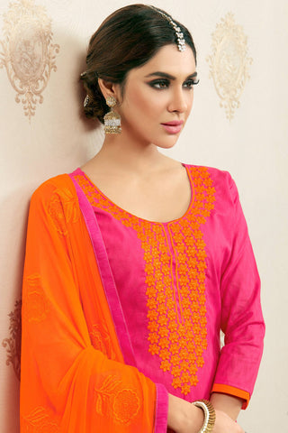 Designer Straight Cut:atisundar beauteous Pink Designer Party Wear Embroidered Straight Cut  - 12626
