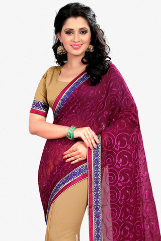 Designer Saree:atisundar Lovely Designer Party Wear Saree in Maroon And Cream  - 12798