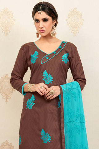 Designer Straight Cut:atisundar Awesome Brown Designer Party Wear Embroidered Straight Cut  - 12627
