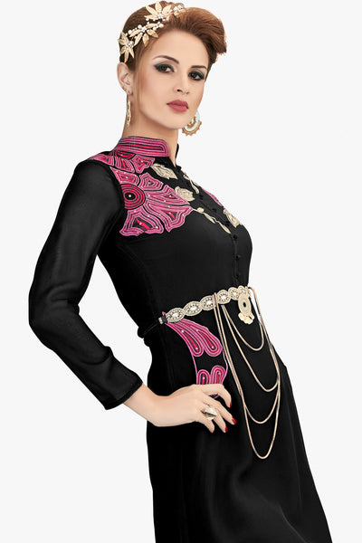 Designer Top:atisundar Smart Faux Georgette Designer Party Wear Top in Embroidered Faux Georgette in Black - 11608 - click to zoom