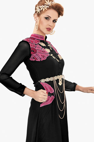 Designer Top:atisundar Smart Faux Georgette Designer Party Wear Top in Embroidered Faux Georgette in Black - 11608 - atisundar - 3 - click to zoom