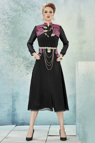 Designer Top:atisundar Smart Faux Georgette Designer Party Wear Top in Embroidered Faux Georgette in Black - 11608 - atisundar - 4 - click to zoom
