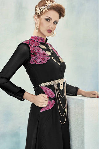 Designer Top:atisundar Smart Faux Georgette Designer Party Wear Top in Embroidered Faux Georgette in Black - 11608 - atisundar - 5 - click to zoom