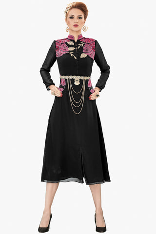 Designer Top:atisundar Smart Faux Georgette Designer Party Wear Top in Embroidered Faux Georgette in Black - 11608 - atisundar - 1 - click to zoom