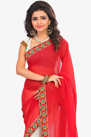 Designer Saree:atisundar beauteous Designer Party Wear Saree in Red And White  - 12799