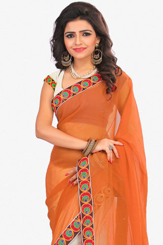 Designer Saree:atisundar classy Designer Party Wear Saree in Orange And White  - 12800