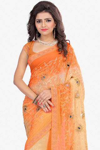 Designer Saree:atisundar splendid Designer Party Wear Saree in Orange  - 12801