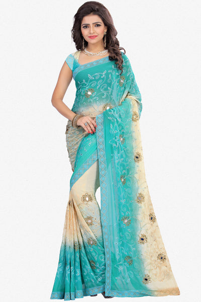 Designer Saree:atisundar magnificent Designer Party Wear Saree in Blue And Cream   - 13498 - click to zoom