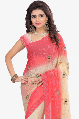 Designer Saree:atisundar admirable Designer Party Wear Saree in Pink And Cream  - 12802