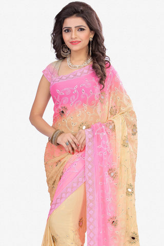 Designer Saree:atisundar Charismatic Designer Party Wear Saree in Pink And Cream  - 13499