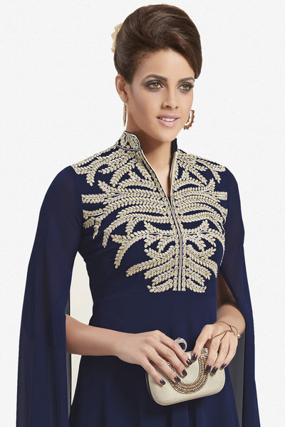 Designer Top:atisundar classy Faux Georgette Designer Party Wear Top in Embroidered Faux Georgette in Navy Blue - 11617 - click to zoom