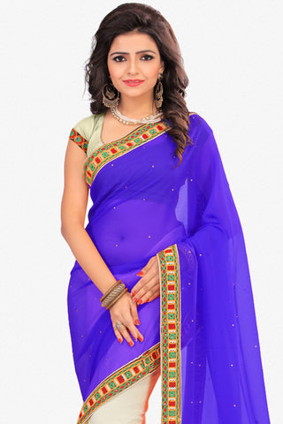 Designer Saree:atisundar delicate Designer Party Wear Saree in Blue And White  - 12803