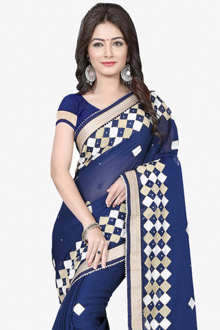 Designer Saree:atisundar excellent Designer Party Wear Saree in Blue  - 12804