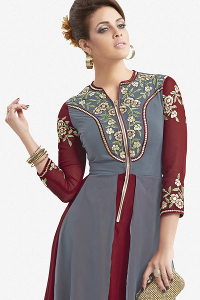 Designer Top:atisundar ravishing Faux Georgette Designer Party Wear Top in Embroidered Faux Georgette in Grey And Maroon - 11620 - click to zoom