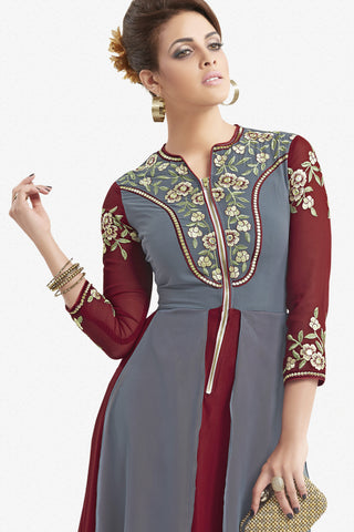 Designer Top:atisundar ravishing Faux Georgette Designer Party Wear Top in Embroidered Faux Georgette in Grey And Maroon - 11620 - atisundar - 2 - click to zoom