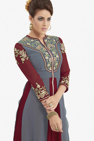 Designer Top:atisundar ravishing Faux Georgette Designer Party Wear Top in Embroidered Faux Georgette in Grey And Maroon - 11620 - atisundar - 3
