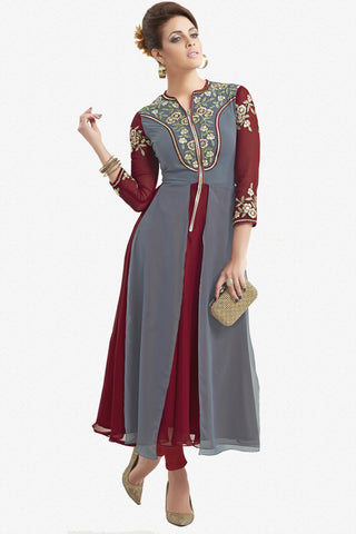Designer Top:atisundar ravishing Faux Georgette Designer Party Wear Top in Embroidered Faux Georgette in Grey And Maroon - 11620 - atisundar - 1 - click to zoom