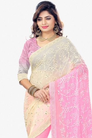 Designer Saree:atisundar delicate Designer Party Wear Saree in Cream And Pink  - 12805