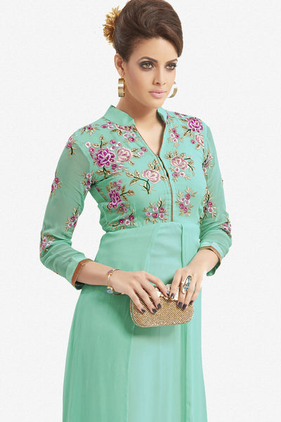 Designer Top:atisundar marvelous Faux Georgette Designer Party Wear Top in Embroidered Faux Georgette in Turquoise - 11623 - atisundar - 2 - click to zoom