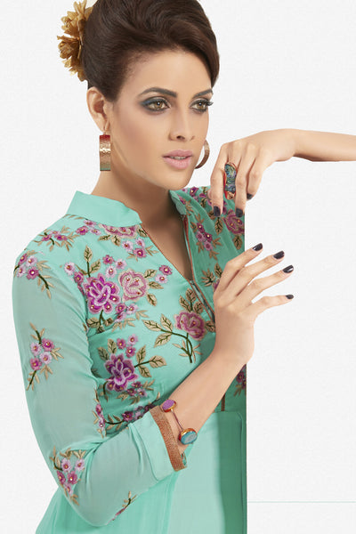 Designer Top:atisundar marvelous Faux Georgette Designer Party Wear Top in Embroidered Faux Georgette in Turquoise - 11623 - atisundar - 3 - click to zoom
