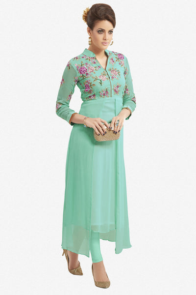 Designer Top:atisundar marvelous Faux Georgette Designer Party Wear Top in Embroidered Faux Georgette in Turquoise - 11623 - atisundar - 1 - click to zoom