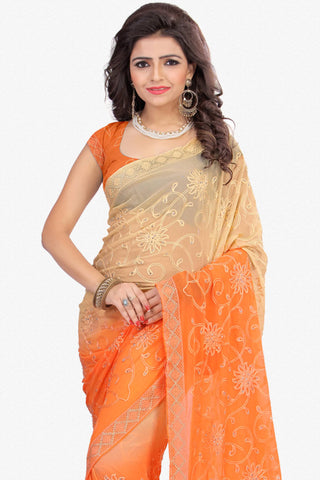 Designer Saree:atisundar gorgeous Designer Party Wear Saree in Orange And Cream  - 12806