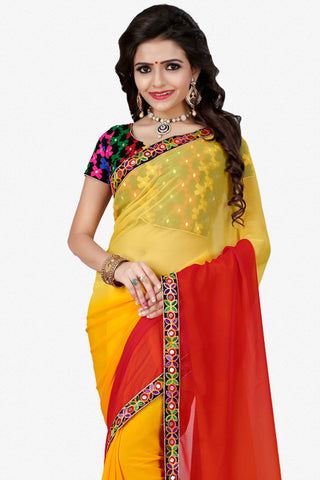 Designer Saree:atisundar Beautiful Designer Party Wear Saree in Yellow And Red  - 12808