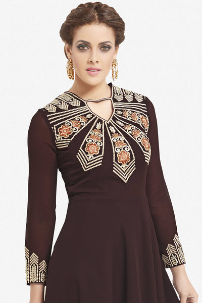 Designer Top:atisundar magnificent Faux Georgette Designer Party Wear Top in Embroidered Faux Georgette in Dark Brown - 11635 - atisundar - 2 - click to zoom