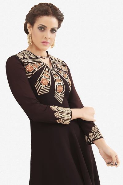 Designer Top:atisundar magnificent Faux Georgette Designer Party Wear Top in Embroidered Faux Georgette in Dark Brown - 11635 - atisundar - 3 - click to zoom