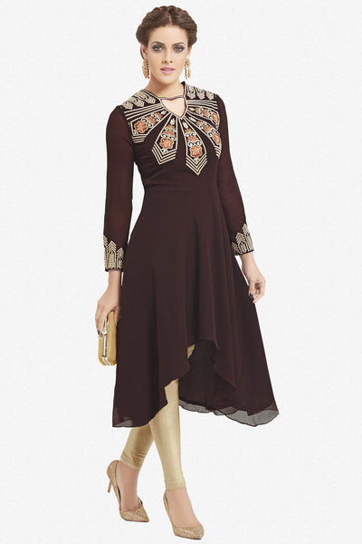 Designer Top:atisundar magnificent Faux Georgette Designer Party Wear Top in Embroidered Faux Georgette in Dark Brown - 11635 - atisundar - 1 - click to zoom