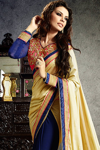 Designer Saree:atisundar Great Designer Party Wear Saree in Yellow And Blue  - 12809